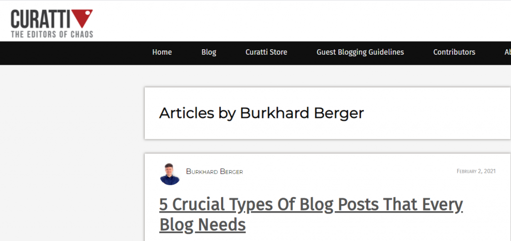A screenshot of a guest post author profile