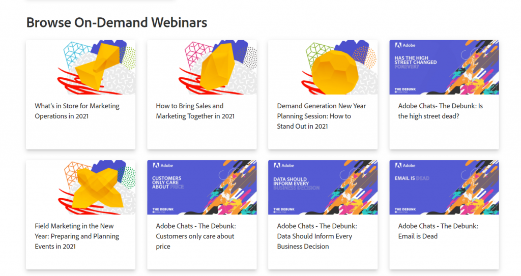 A screenshot of Marketo's webinar resources on their company page