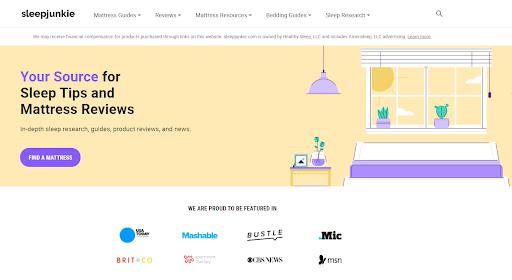 A screenshot of Sleep Junkie's home page