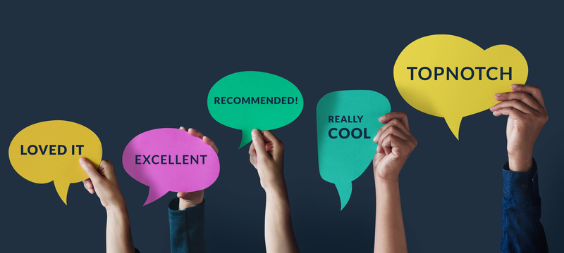 Customer Experiences Concept. Group of Happy People Raised up Hand to Giving a Positive Review on Speech Bubble Card. Client's Satisfaction Surveys. Front View