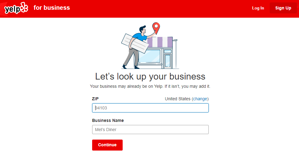 An image of Yelp's listing page
