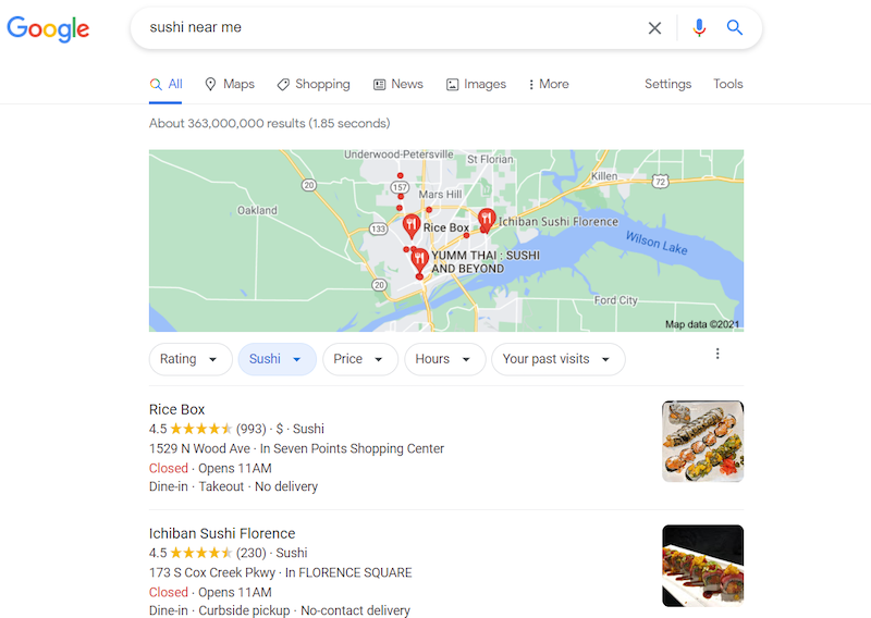 A screenshot of a google search query for sushi near me