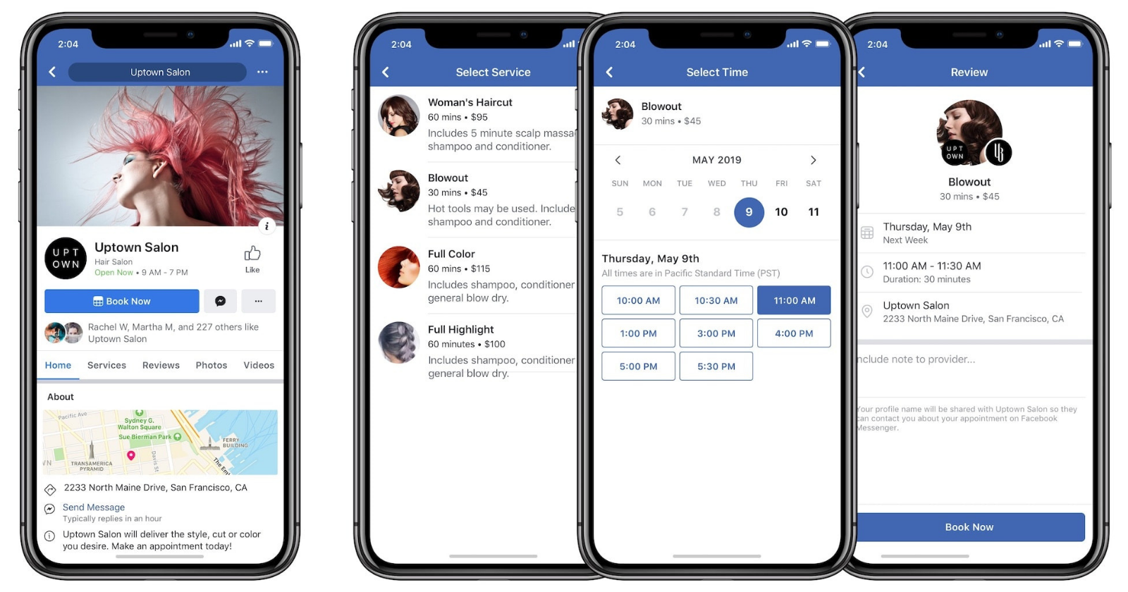 Renditions of Facebook for business for mobile interfaces